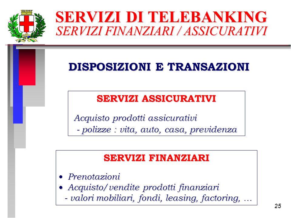 25 SERVIZI DI TELEBANKING SERVIZI FINANZIARI / ASSICURATIVI DISPOSIZIONI E TRANSAZIONI SERVIZI FINANZIARI Prenotazioni Acquisto/vendite prodotti finanziari Acquisto/vendite prodotti finanziari - valori mobiliari, fondi, leasing, factoring, … - valori mobiliari, fondi, leasing, factoring, … SERVIZI ASSICURATIVI Acquisto prodotti assicurativi - polizze : vita, auto, casa, previdenza - polizze : vita, auto, casa, previdenza