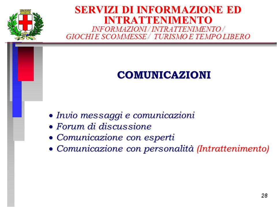 28 SERVIZI DI INFORMAZIONE ED INTRATTENIMENTO INFORMAZIONI / INTRATTENIMENTO / GIOCHI E SCOMMESSE / TURISMO E TEMPO LIBERO Invio messaggi e comunicazioni Invio messaggi e comunicazioni Forum di discussione Forum di discussione Comunicazione con esperti Comunicazione con esperti Comunicazione con personalità (Intrattenimento) Comunicazione con personalità (Intrattenimento) COMUNICAZIONI