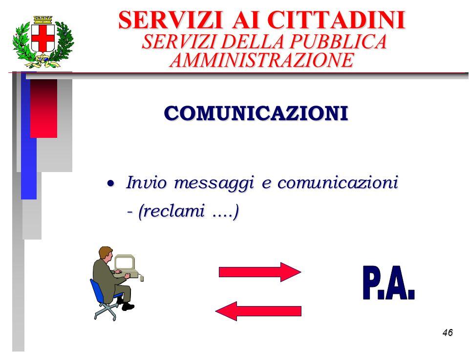 46 SERVIZI AI CITTADINI SERVIZI DELLA PUBBLICA AMMINISTRAZIONE Invio messaggi e comunicazioni Invio messaggi e comunicazioni - (reclami....) COMUNICAZIONI