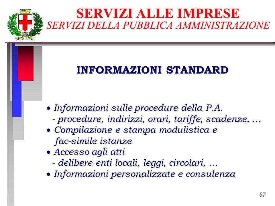 57 SERVIZI ALLE IMPRESE SERVIZI DELLA PUBBLICA AMMINISTRAZIONE Informazioni sulle procedure della P.A.