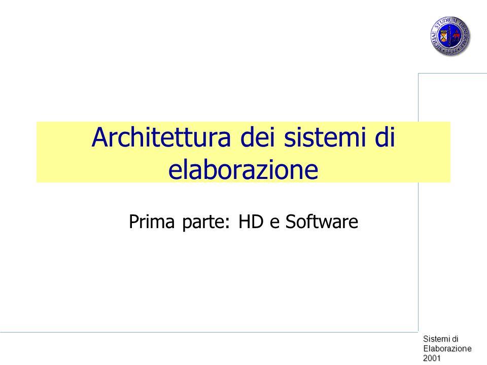 Sistemi di Elaborazione 2001 Architettura dei sistemi di elaborazione Prima parte: HD e Software