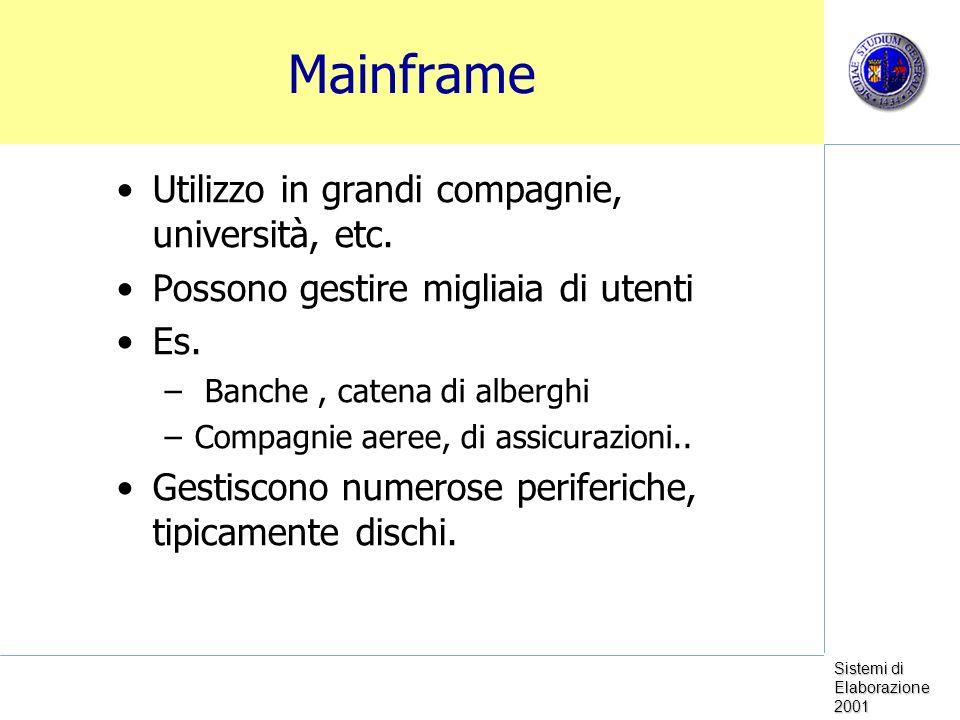 Sistemi di Elaborazione 2001 Mainframe Utilizzo in grandi compagnie, università, etc. Possono gestire migliaia di utenti Es. – Banche, catena di alber