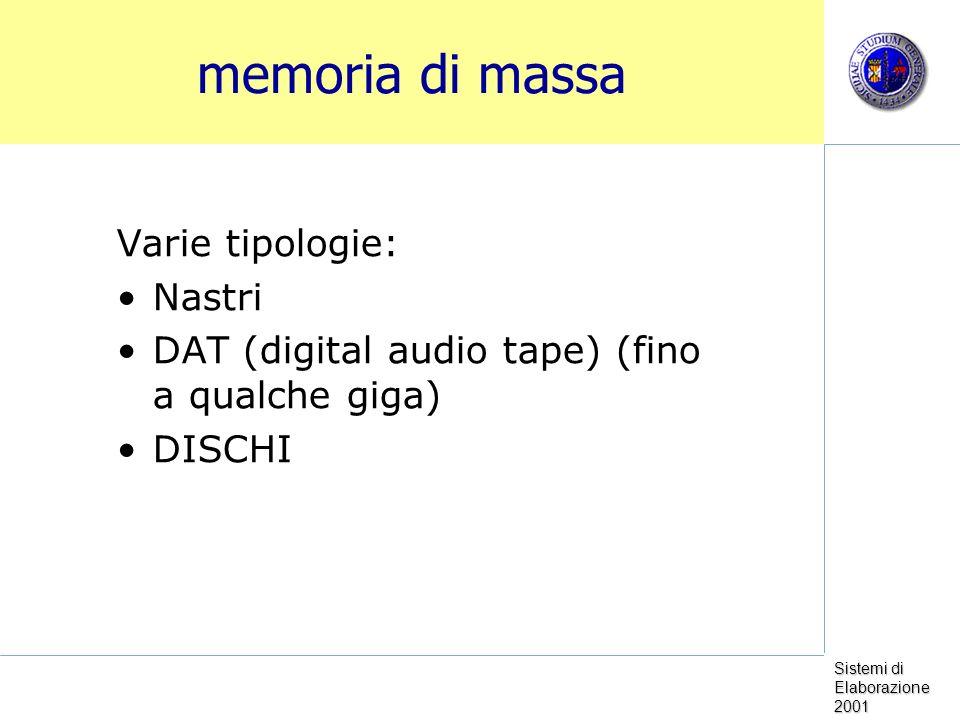 Sistemi di Elaborazione 2001 memoria di massa Varie tipologie: Nastri DAT (digital audio tape) (fino a qualche giga) DISCHI