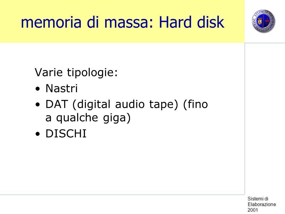 Sistemi di Elaborazione 2001 memoria di massa: Hard disk Varie tipologie: Nastri DAT (digital audio tape) (fino a qualche giga) DISCHI