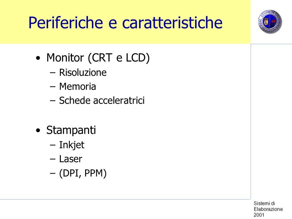 Sistemi di Elaborazione 2001 Periferiche e caratteristiche Monitor (CRT e LCD) –Risoluzione –Memoria –Schede acceleratrici Stampanti –Inkjet –Laser –(DPI, PPM)