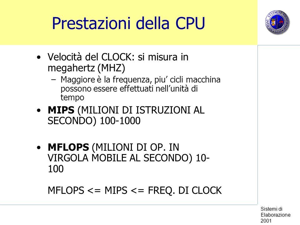 Sistemi di Elaborazione 2001 Prestazioni della CPU Velocità del CLOCK: si misura in megahertz (MHZ) –Maggiore è la frequenza, piu cicli macchina possono essere effettuati nellunità di tempo MIPS (MILIONI DI ISTRUZIONI AL SECONDO) 100-1000 MFLOPS (MILIONI DI OP.