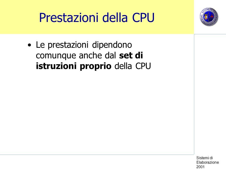 Sistemi di Elaborazione 2001 Prestazioni della CPU Le prestazioni dipendono comunque anche dal set di istruzioni proprio della CPU