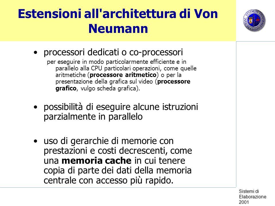Sistemi di Elaborazione 2001 Estensioni all architettura di Von Neumann processori dedicati o co-processori per eseguire in modo particolarmente efficiente e in parallelo alla CPU particolari operazioni, come quelle aritmetiche (processore aritmetico) o per la presentazione della grafica sul video (processore grafico, vulgo scheda grafica).