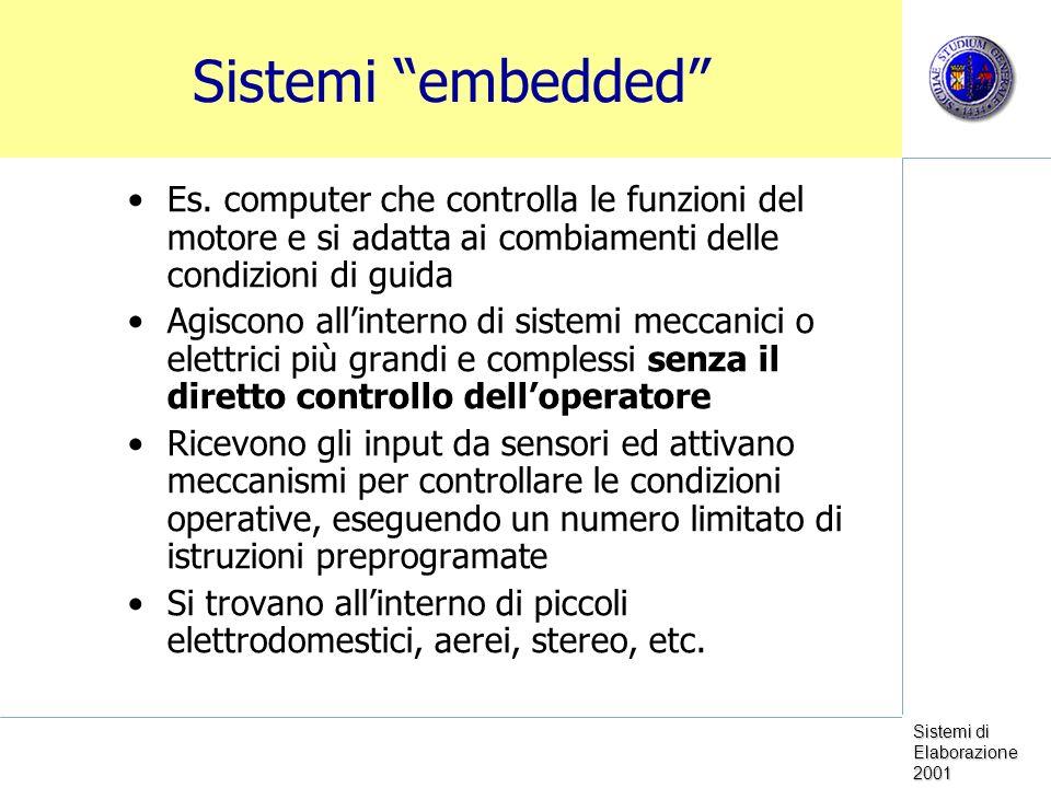 Sistemi di Elaborazione 2001 Personal Computer Desktop, laptop, notebook, palmari Tipicamente hanno un microprocessore General Purpose Velocità: 30-120 MIPS RAM: 32-128 MB