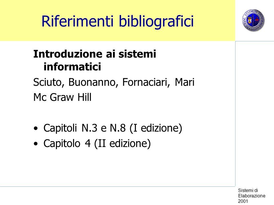 Sistemi di Elaborazione 2001 Riferimenti bibliografici Introduzione ai sistemi informatici Sciuto, Buonanno, Fornaciari, Mari Mc Graw Hill Capitoli N.3 e N.8 (I edizione) Capitolo 4 (II edizione)
