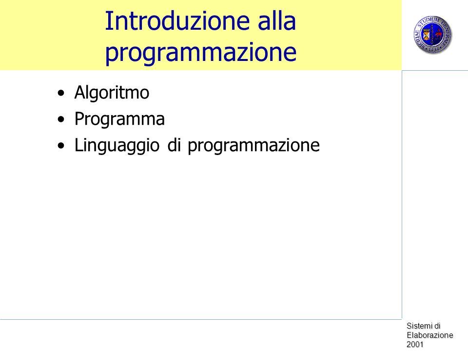 Sistemi di Elaborazione 2001 Introduzione alla programmazione Algoritmo Programma Linguaggio di programmazione