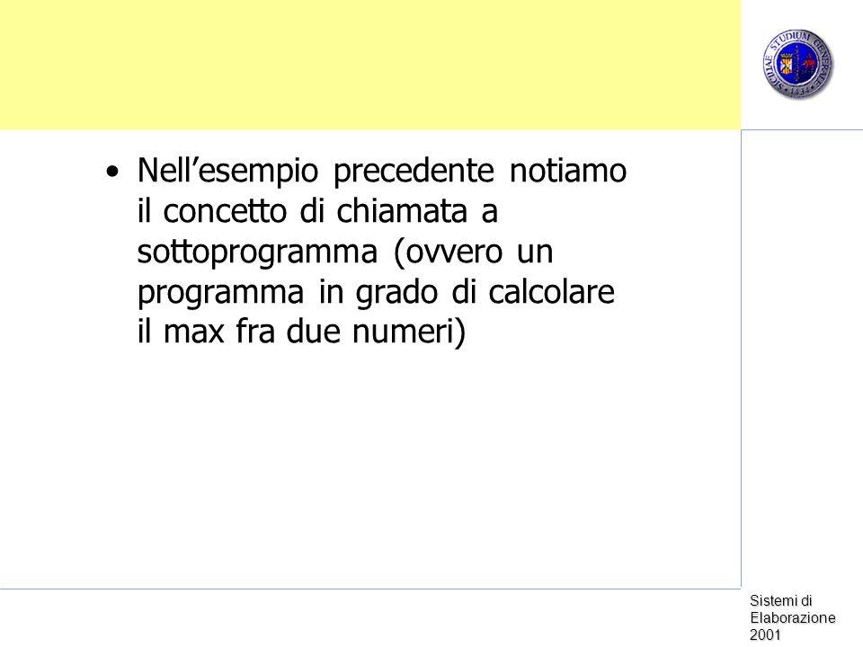 Sistemi di Elaborazione 2001 Nellesempio precedente notiamo il concetto di chiamata a sottoprogramma (ovvero un programma in grado di calcolare il max