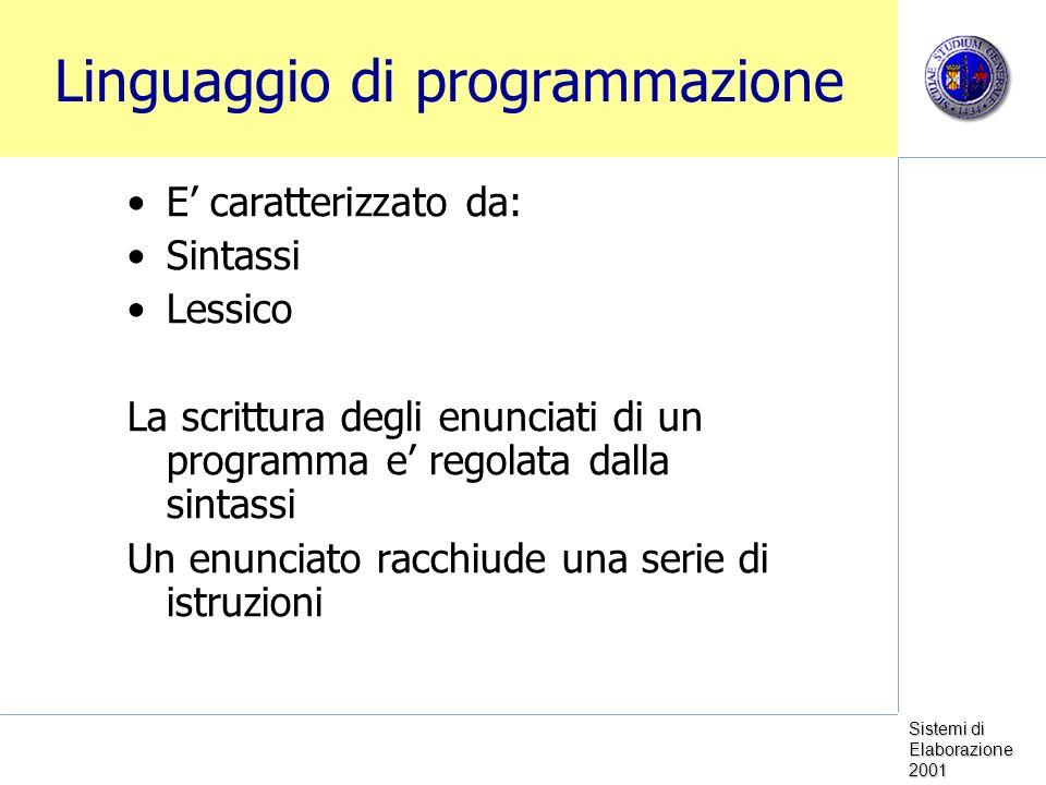 Sistemi di Elaborazione 2001 Linguaggio di programmazione E caratterizzato da: Sintassi Lessico La scrittura degli enunciati di un programma e regolat