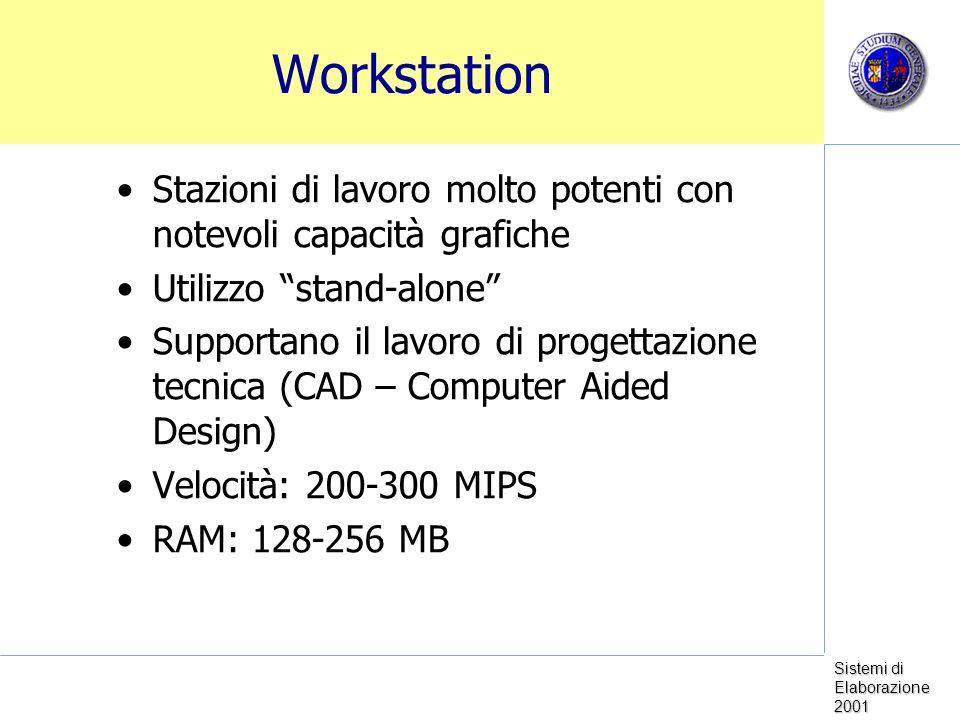 Sistemi di Elaborazione 2001 Minicomputer Utilizzo in piccole aziende o divisioni di grandi compagnie Possono gestire centinaia di utenti Es.