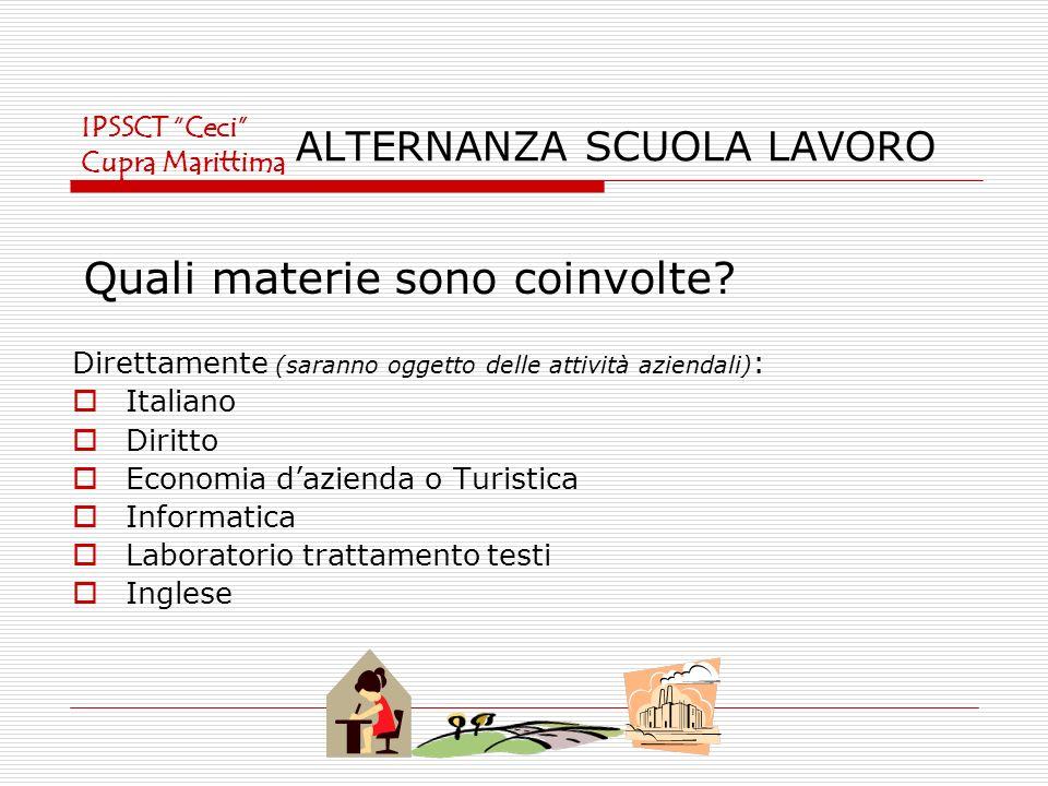 ALTERNANZA SCUOLA LAVORO Direttamente (saranno oggetto delle attività aziendali) : Italiano Diritto Economia dazienda o Turistica Informatica Laborato