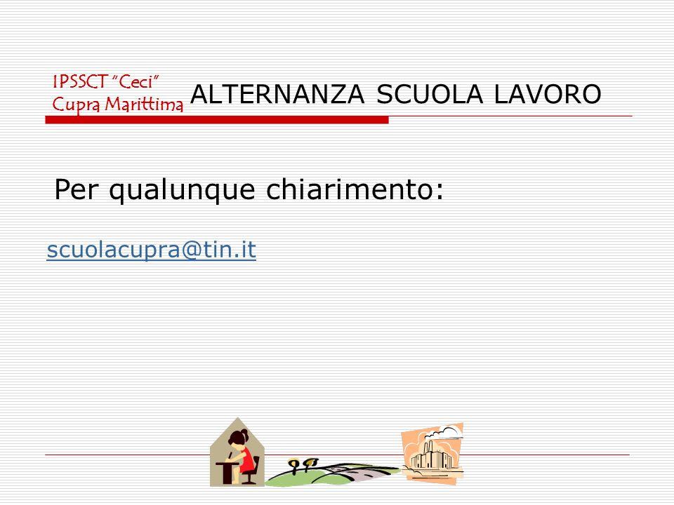 ALTERNANZA SCUOLA LAVORO scuolacupra@tin.it Per qualunque chiarimento: IPSSCT Ceci Cupra Marittima