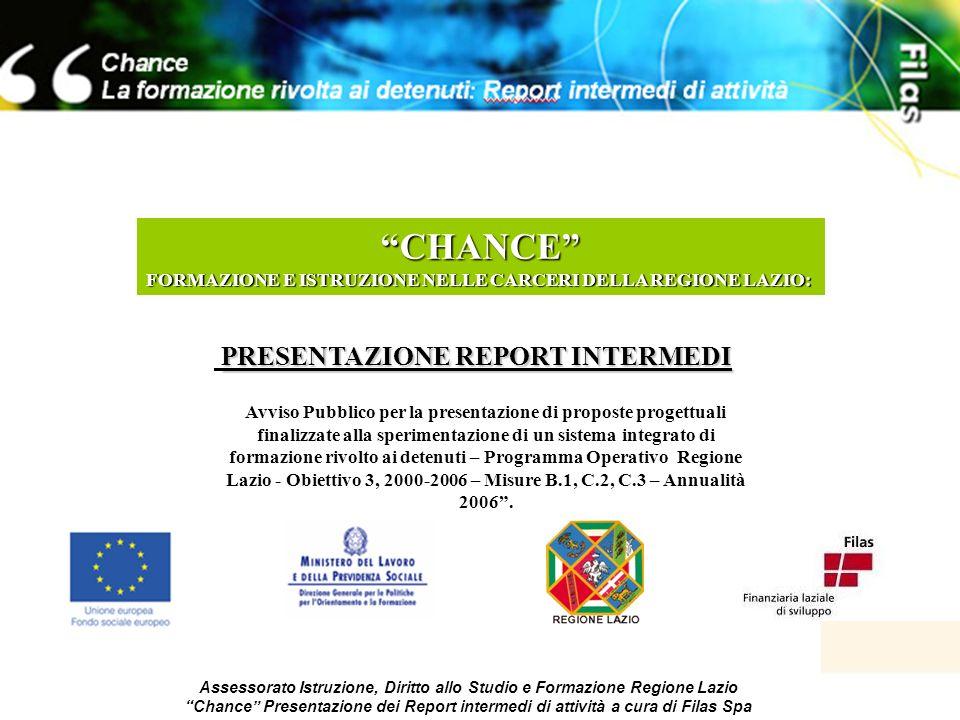 1 Assessorato Istruzione, Diritto allo Studio e Formazione Regione Lazio Chance Presentazione dei Report intermedi di attività a cura di Filas Spa CHA