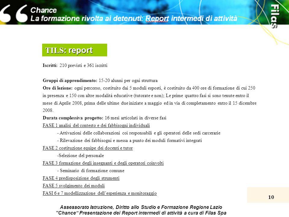 10 Assessorato Istruzione, Diritto allo Studio e Formazione Regione Lazio Chance Presentazione dei Report intermedi di attività a cura di Filas Spa TI