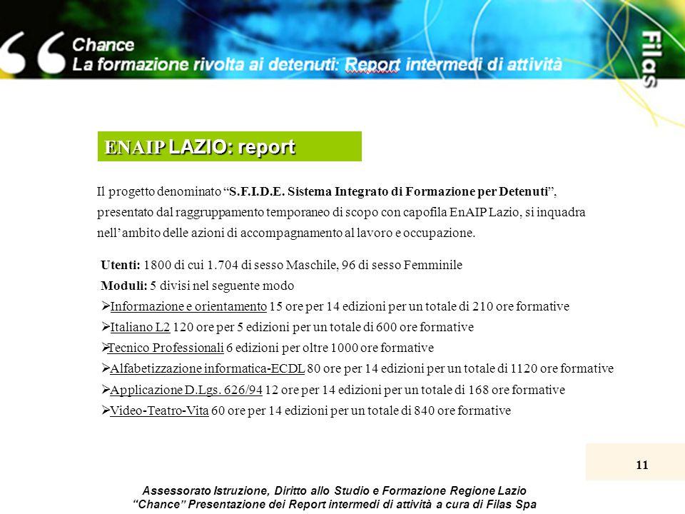 11 Assessorato Istruzione, Diritto allo Studio e Formazione Regione Lazio Chance Presentazione dei Report intermedi di attività a cura di Filas Spa ENAIP LAZIO: report Il progetto denominato S.F.I.D.E.