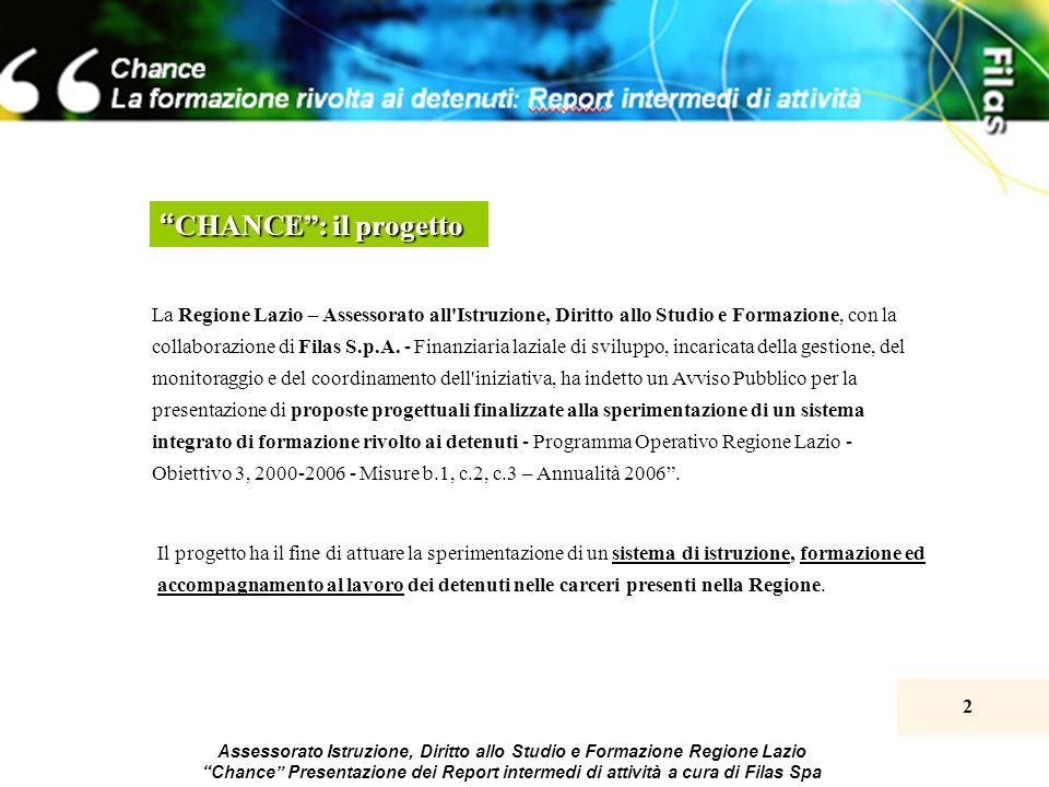 2 Assessorato Istruzione, Diritto allo Studio e Formazione Regione Lazio Chance Presentazione dei Report intermedi di attività a cura di Filas Spa Il