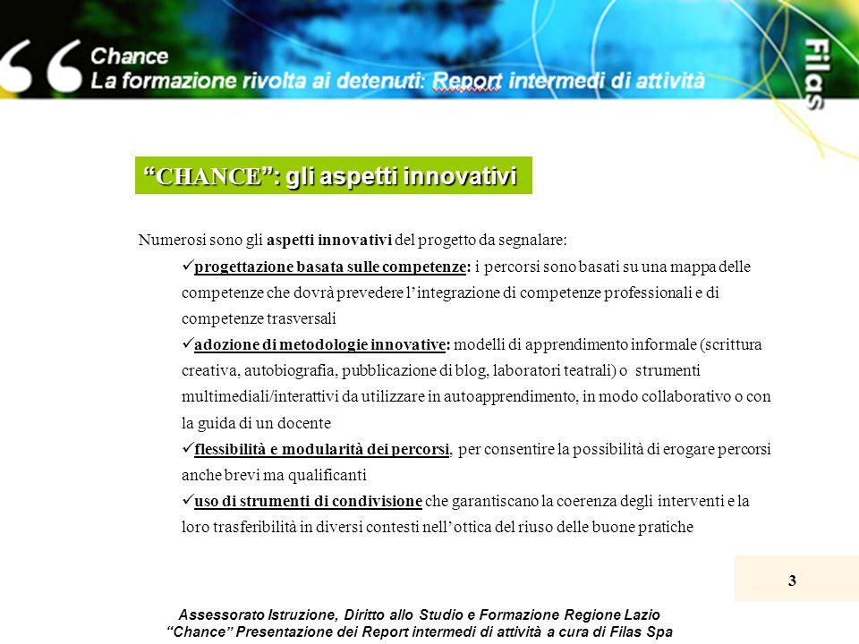 3 Assessorato Istruzione, Diritto allo Studio e Formazione Regione Lazio Chance Presentazione dei Report intermedi di attività a cura di Filas Spa Num
