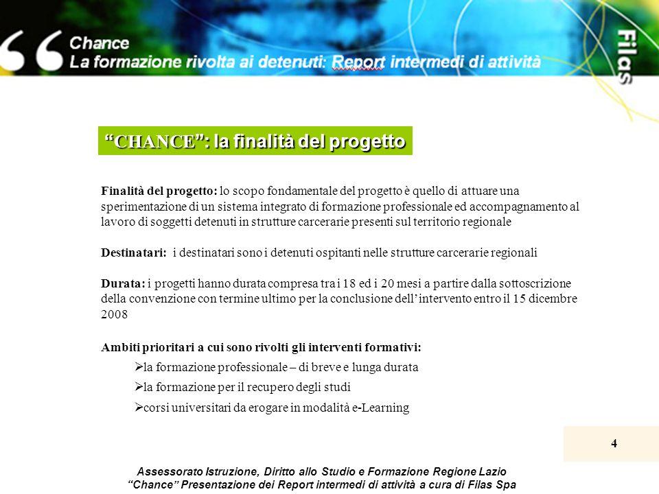 4 Assessorato Istruzione, Diritto allo Studio e Formazione Regione Lazio Chance Presentazione dei Report intermedi di attività a cura di Filas Spa CHA