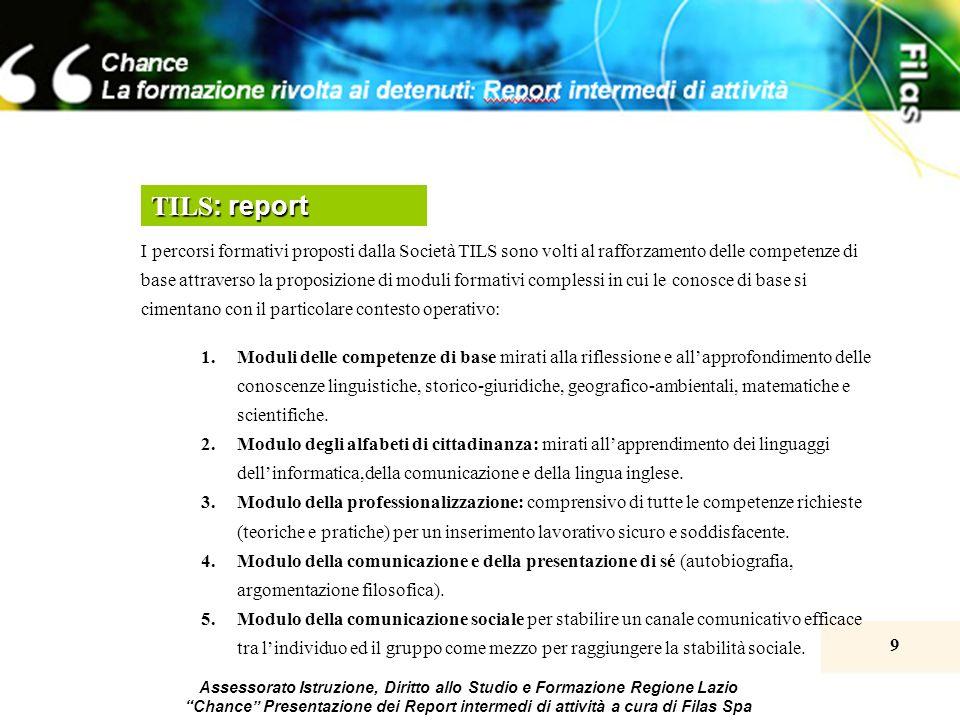 9 Assessorato Istruzione, Diritto allo Studio e Formazione Regione Lazio Chance Presentazione dei Report intermedi di attività a cura di Filas Spa TIL