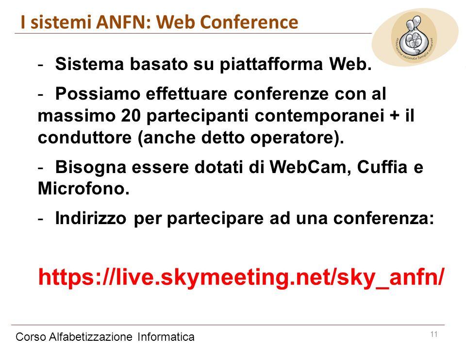 Corso Alfabetizzazione Informatica 11 -Sistema basato su piattafforma Web. -Possiamo effettuare conferenze con al massimo 20 partecipanti contemporane