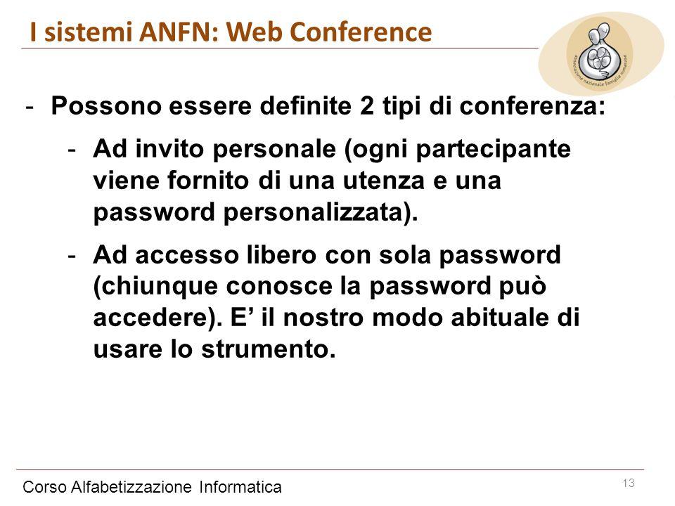 Corso Alfabetizzazione Informatica 13 -Possono essere definite 2 tipi di conferenza: -Ad invito personale (ogni partecipante viene fornito di una utenza e una password personalizzata).
