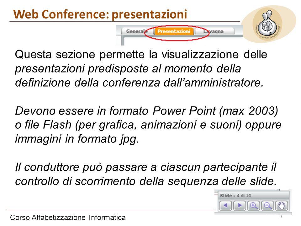 Corso Alfabetizzazione Informatica 17 Questa sezione permette la visualizzazione delle presentazioni predisposte al momento della definizione della co