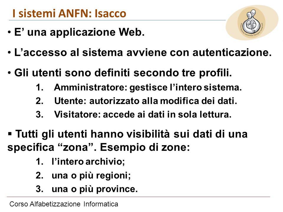 Corso Alfabetizzazione Informatica I sistemi ANFN: Isacco E una applicazione Web. Laccesso al sistema avviene con autenticazione. Gli utenti sono defi