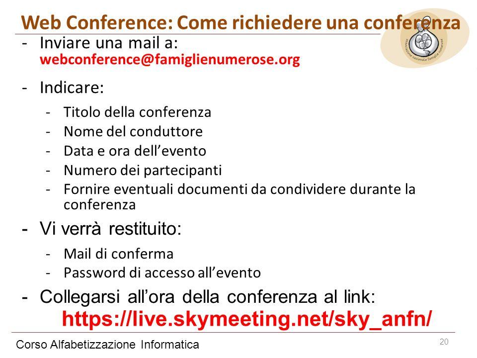 Corso Alfabetizzazione Informatica 20 -Inviare una mail a: webconference@famiglienumerose.org -Indicare: -Titolo della conferenza -Nome del conduttore -Data e ora dellevento -Numero dei partecipanti -Fornire eventuali documenti da condividere durante la conferenza -Vi verrà restituito: -Mail di conferma -Password di accesso allevento -Collegarsi allora della conferenza al link: Web Conference: Come richiedere una conferenza https://live.skymeeting.net/sky_anfn/