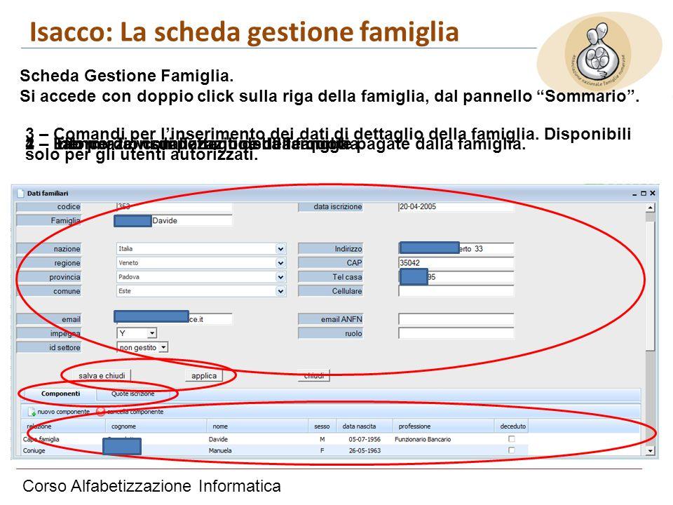 Corso Alfabetizzazione Informatica Isacco: La scheda gestione famiglia Scheda Gestione Famiglia. Si accede con doppio click sulla riga della famiglia,