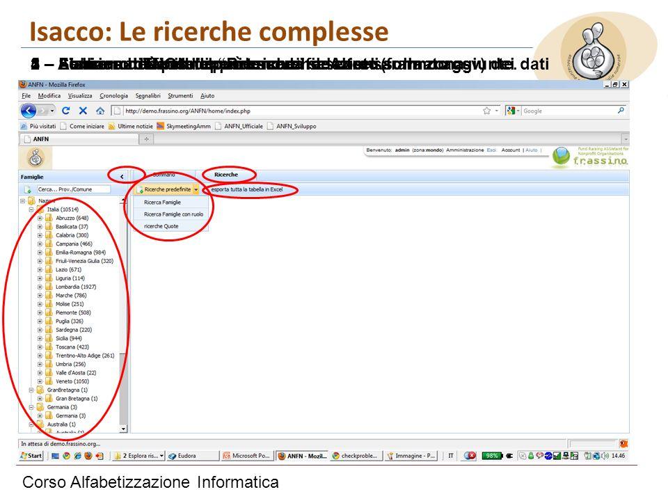 Corso Alfabetizzazione Informatica Isacco: Le ricerche complesse 1 – Siamo sul Tab delle Ricerche2 – Abbiamo definito alcune ricerche.