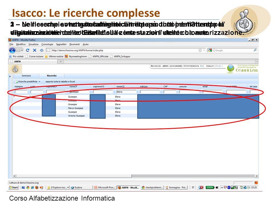 Corso Alfabetizzazione Informatica Isacco: Le ricerche complesse 2 – Le ricerche avvengono dinamicamente su tutti i dati mentre si digitano i criteri nelle caselle sulle intestazioni delle colonne.