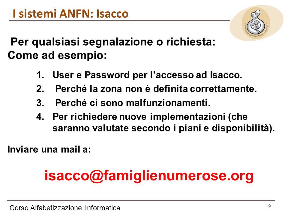 Corso Alfabetizzazione Informatica 9 I sistemi ANFN: Isacco Per qualsiasi segnalazione o richiesta: Come ad esempio: 1.User e Password per laccesso ad Isacco.