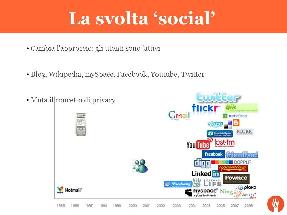 La svolta 'social' Cambia l'approccio: gli utenti sono 'attivi' Blog, Wikipedia, mySpace, Facebook, Youtube, Twitter Muta il concetto di privacy La sv
