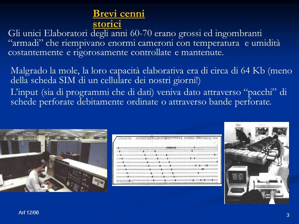 Arf 12/06 3 Gli unici Elaboratori degli anni 60-70 erano grossi ed ingombranti armadi che riempivano enormi cameroni con temperatura e umidità costantemente e rigorosamente controllate e mantenute.