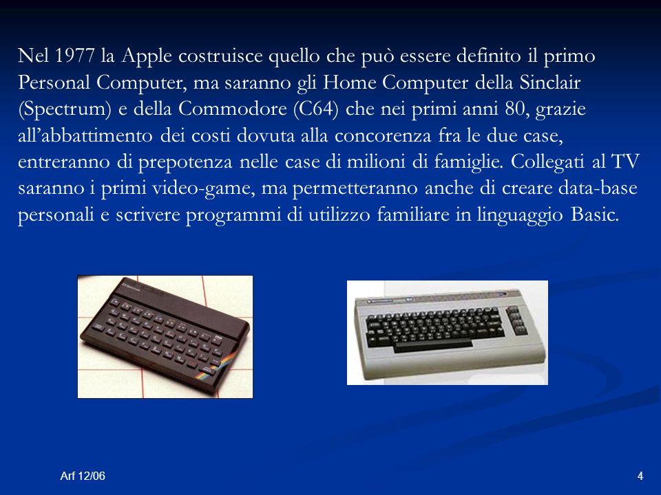 4Arf 12/06 Nel 1977 la Apple costruisce quello che può essere definito il primo Personal Computer, ma saranno gli Home Computer della Sinclair (Spectrum) e della Commodore (C64) che nei primi anni 80, grazie allabbattimento dei costi dovuta alla concorenza fra le due case, entreranno di prepotenza nelle case di milioni di famiglie.