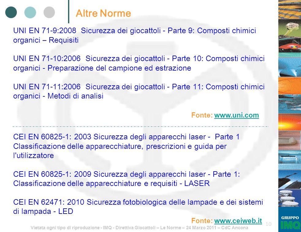 Vietata ogni tipo di riproduzione - IMQ - Direttiva Giocattoli – Le Norme – 24 Marzo 2011 – CdC Ancona GRUPPO 10 Altre Norme Fonte: www.uni.com UNI EN