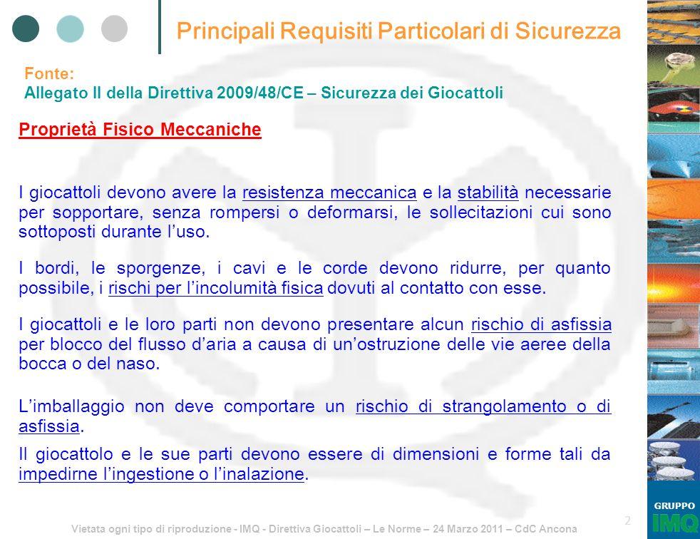 Vietata ogni tipo di riproduzione - IMQ - Direttiva Giocattoli – Le Norme – 24 Marzo 2011 – CdC Ancona GRUPPO 2 Principali Requisiti Particolari di Si