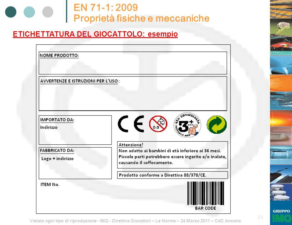 Vietata ogni tipo di riproduzione - IMQ - Direttiva Giocattoli – Le Norme – 24 Marzo 2011 – CdC Ancona GRUPPO 21 EN 71-1: 2009 Proprietà fisiche e mec