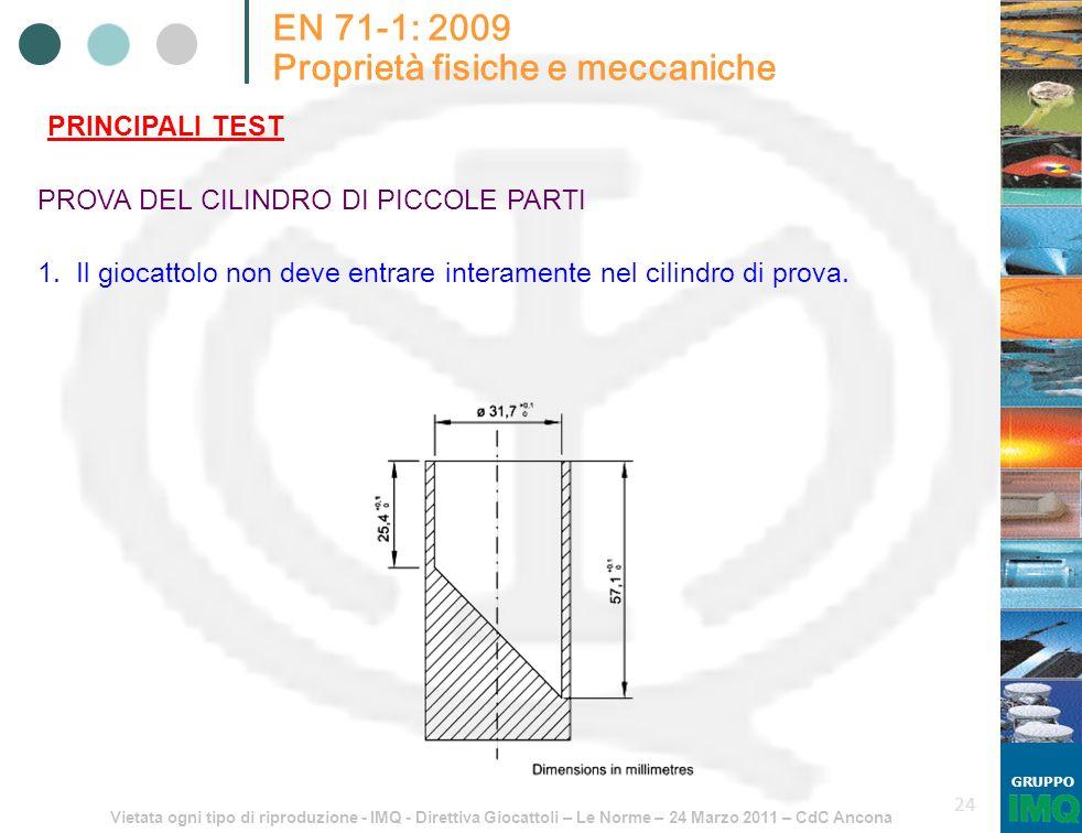 Vietata ogni tipo di riproduzione - IMQ - Direttiva Giocattoli – Le Norme – 24 Marzo 2011 – CdC Ancona GRUPPO 24 EN 71-1: 2009 Proprietà fisiche e mec
