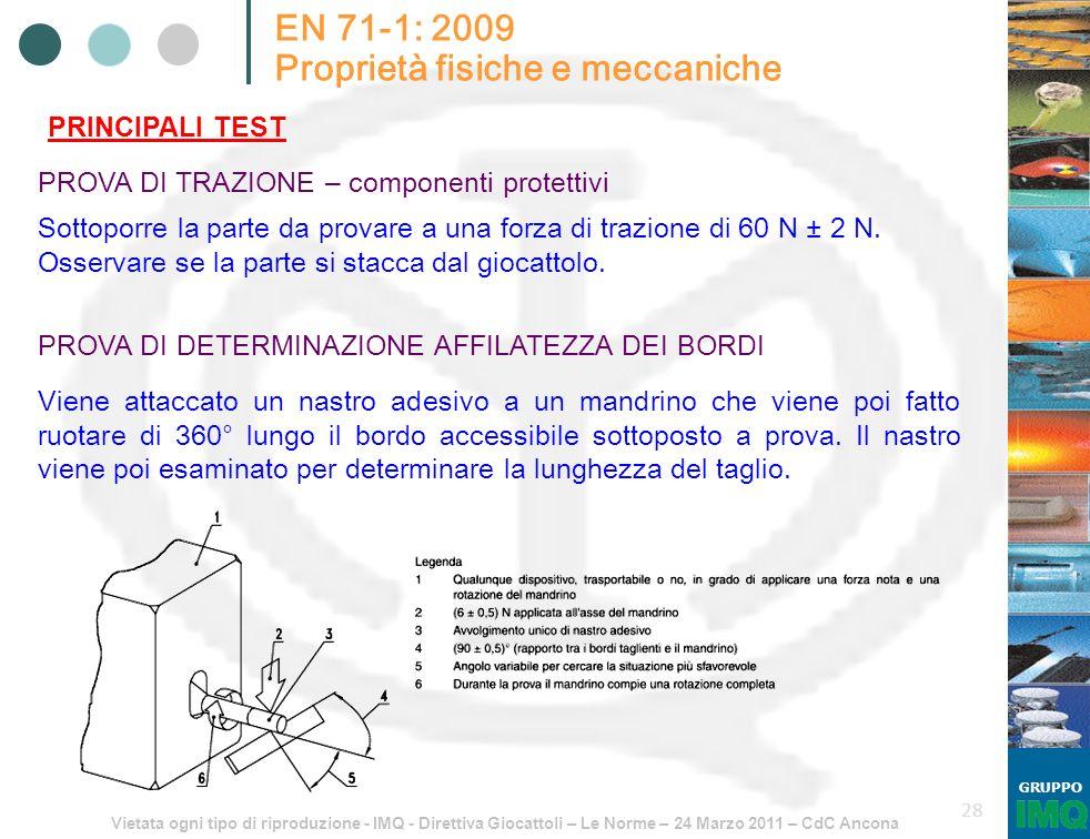 Vietata ogni tipo di riproduzione - IMQ - Direttiva Giocattoli – Le Norme – 24 Marzo 2011 – CdC Ancona GRUPPO 28 EN 71-1: 2009 Proprietà fisiche e mec