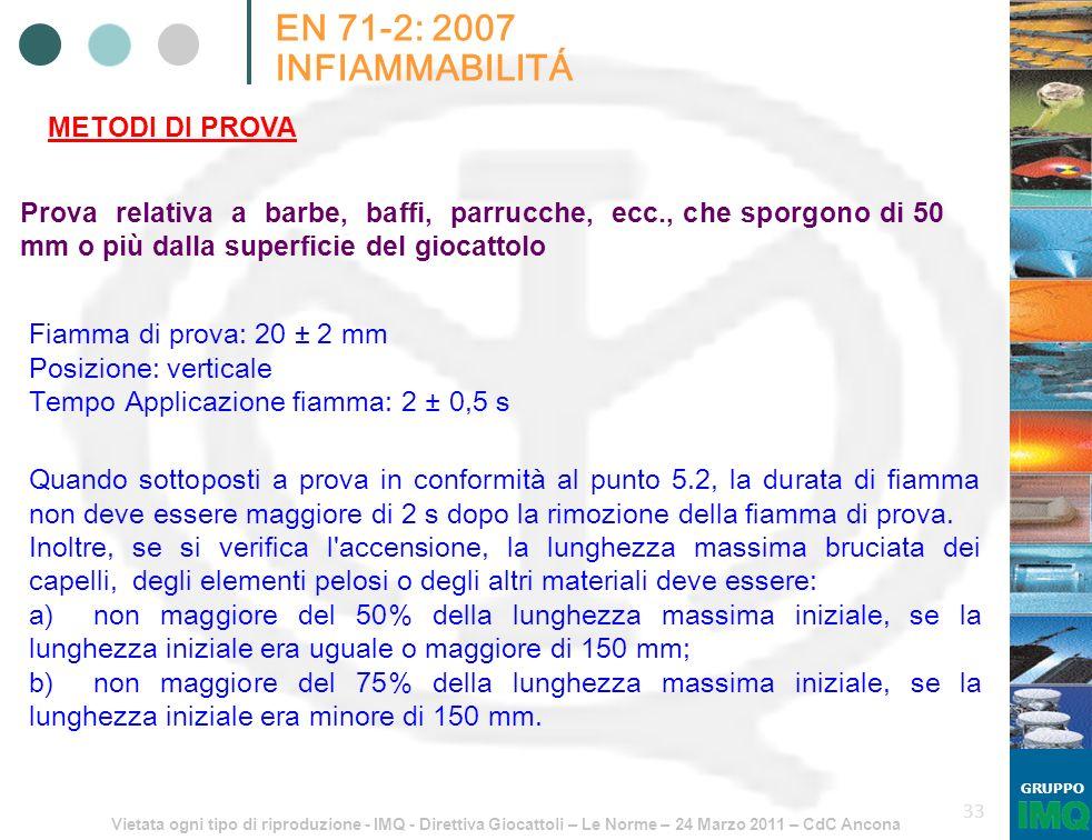 Vietata ogni tipo di riproduzione - IMQ - Direttiva Giocattoli – Le Norme – 24 Marzo 2011 – CdC Ancona GRUPPO 33 EN 71-2: 2007 INFIAMMABILITÁ METODI D