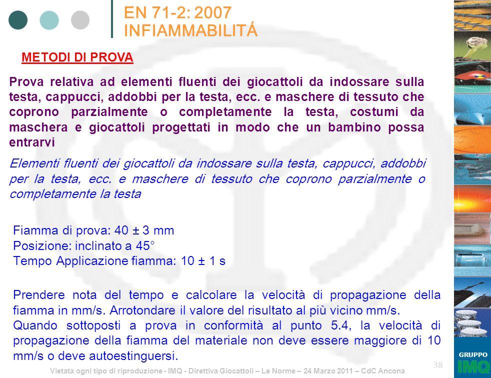 Vietata ogni tipo di riproduzione - IMQ - Direttiva Giocattoli – Le Norme – 24 Marzo 2011 – CdC Ancona GRUPPO 38 EN 71-2: 2007 INFIAMMABILITÁ METODI D