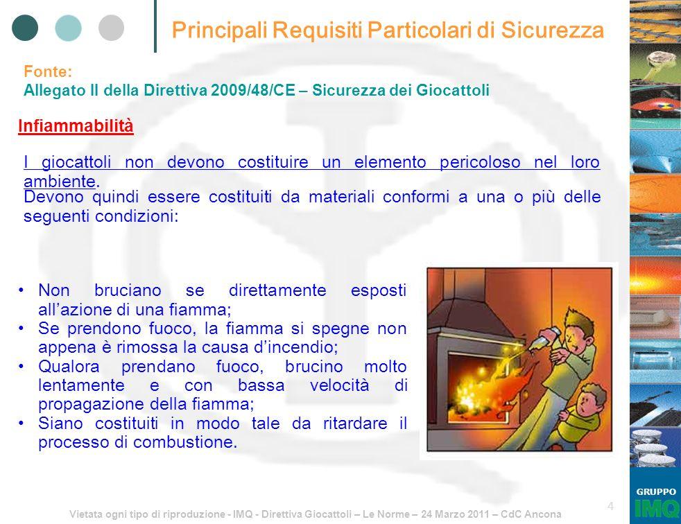 Vietata ogni tipo di riproduzione - IMQ - Direttiva Giocattoli – Le Norme – 24 Marzo 2011 – CdC Ancona GRUPPO 45 EN 71-3:2002 MIGRAZIONE DI ALCUNI ELEMENTI Prospetto 1, paragrafo 4, punto 4.1.