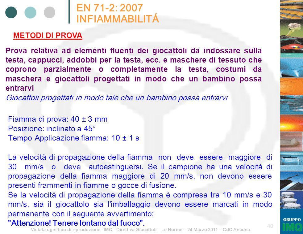 Vietata ogni tipo di riproduzione - IMQ - Direttiva Giocattoli – Le Norme – 24 Marzo 2011 – CdC Ancona GRUPPO 40 EN 71-2: 2007 INFIAMMABILITÁ METODI D