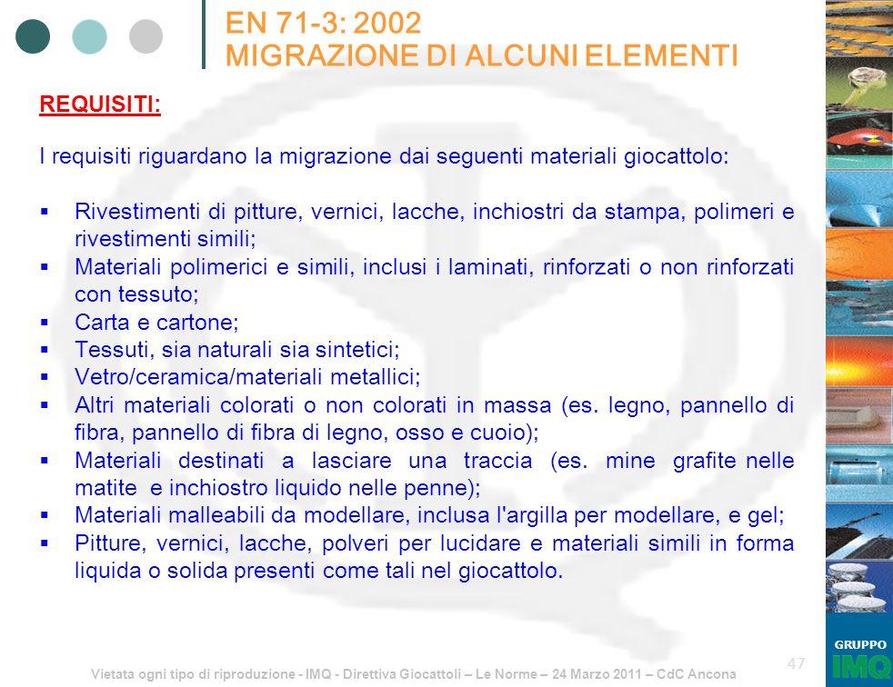 Vietata ogni tipo di riproduzione - IMQ - Direttiva Giocattoli – Le Norme – 24 Marzo 2011 – CdC Ancona GRUPPO 47 EN 71-3: 2002 MIGRAZIONE DI ALCUNI EL