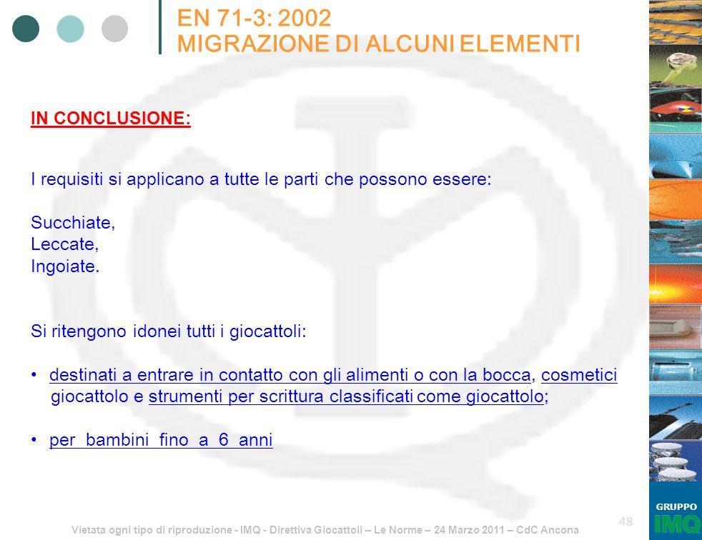 Vietata ogni tipo di riproduzione - IMQ - Direttiva Giocattoli – Le Norme – 24 Marzo 2011 – CdC Ancona GRUPPO 48 EN 71-3: 2002 MIGRAZIONE DI ALCUNI EL